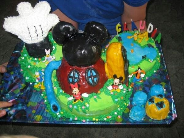 Mickey mouse clubhouse.  Made with rice krispies molded and covered with fondant.