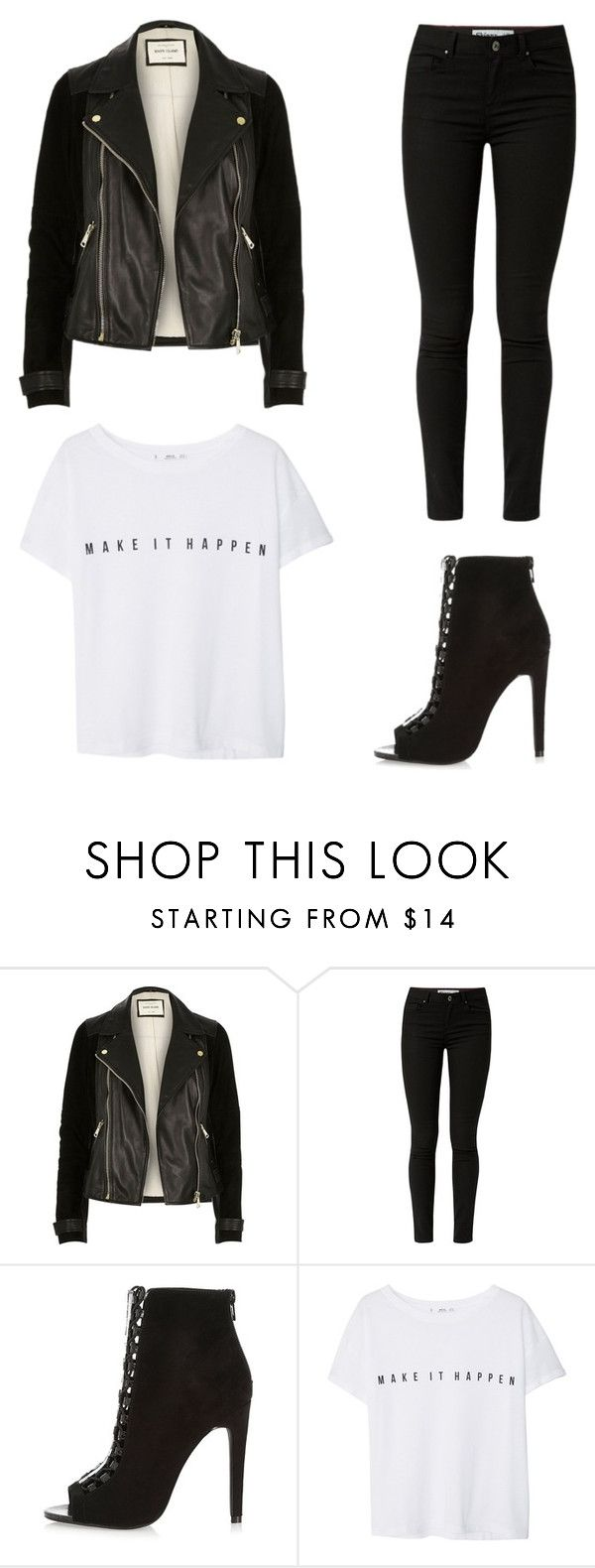 """""""The white tee"""" by theclothesmind on Polyvore featuring River Island and MANGO"""