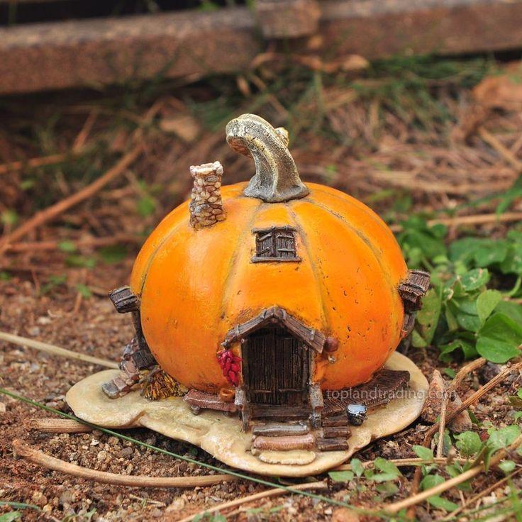Orange Pumpkin Fairy House – autumn