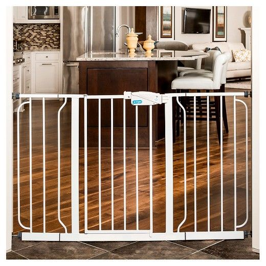 • Walk through gate with double locking handle for convenience<br>• Pressure mount or hardware mount perfect for most homes<br>• One hand easy open handle for multitasking parents <br>• Easily wipes clean with damp cloth  <br><br>Wide or narrow openings, this Regalo Extra Wide Baby Gate fits them! This sturdy, all metal walk-thru gate accommodates a variety of openings and the easy to adjust pressure mounting system makes insta...