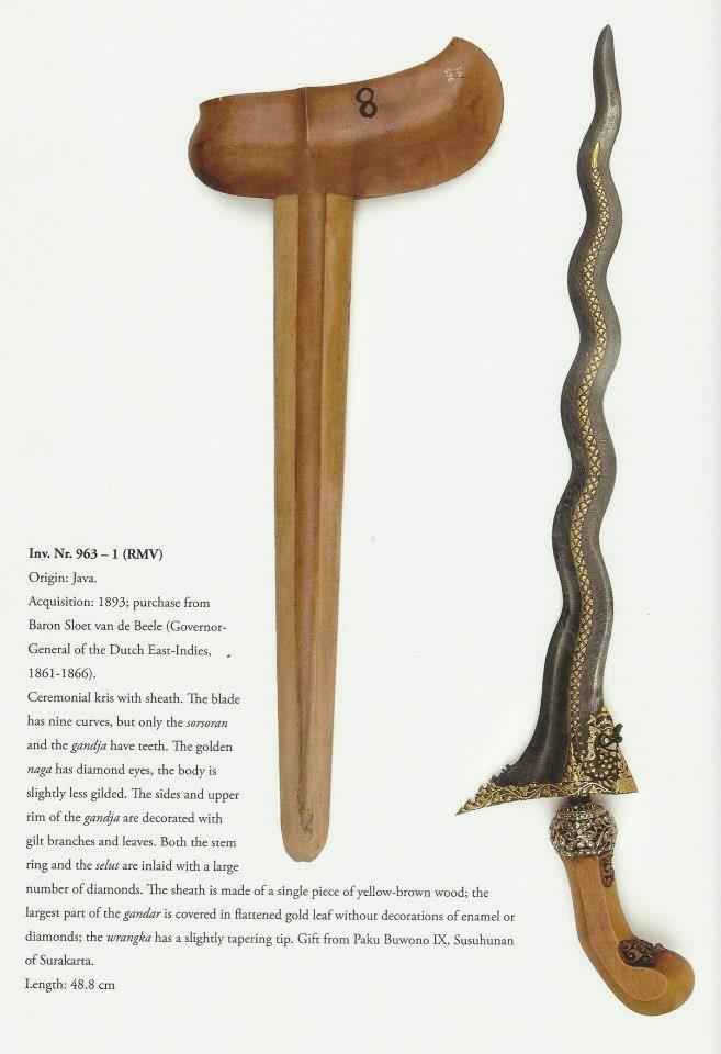 """KERIS Nagasasra luk 11 koleksi Museum Etnologi Nasional Leiden, Belanda. Menurut buku Isaac Groneman """"The Javanese Kris"""" terbitan C Zwartenkof Art Books, Leiden and KITLV Press, Leiden, keris ini didapat museum tersebut pada tahun 1893, dibeli dari Baron Sloet van de Beele yang pernah jadi Gubernur Jendral Hindia Belanda pada 1861-1866.. Panjang 48,8 cm PakBo"""