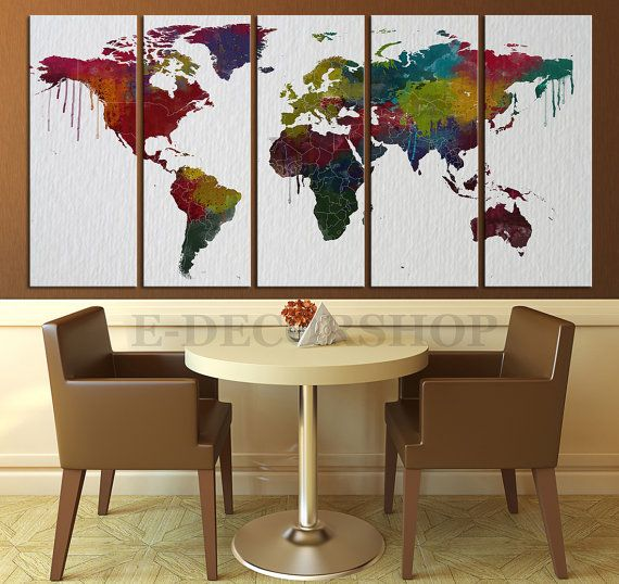 17 best large wall art world map canvas print images on pinterest colorful world map on watercolor paper texture by worldmapcanvas gumiabroncs Choice Image