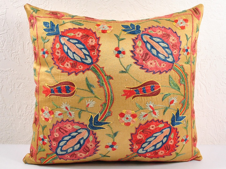 suzani pillow hand embroidered