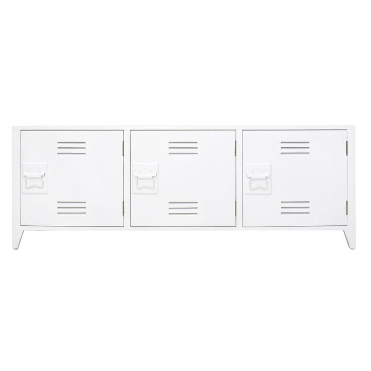 LOCKER+STYLE+TV+CABINET+with+Shelves+in+White+Mango+Wood