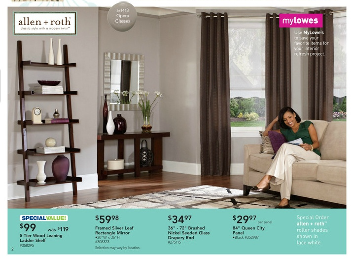 "from a Lowe's flyer  (1) allen + roth ""opera glasses"" (ar1418) grey paint  (2) Beige Yotta area rug  (3) allen + roth rectangular framed mirror 30""x36"" (#308323)"
