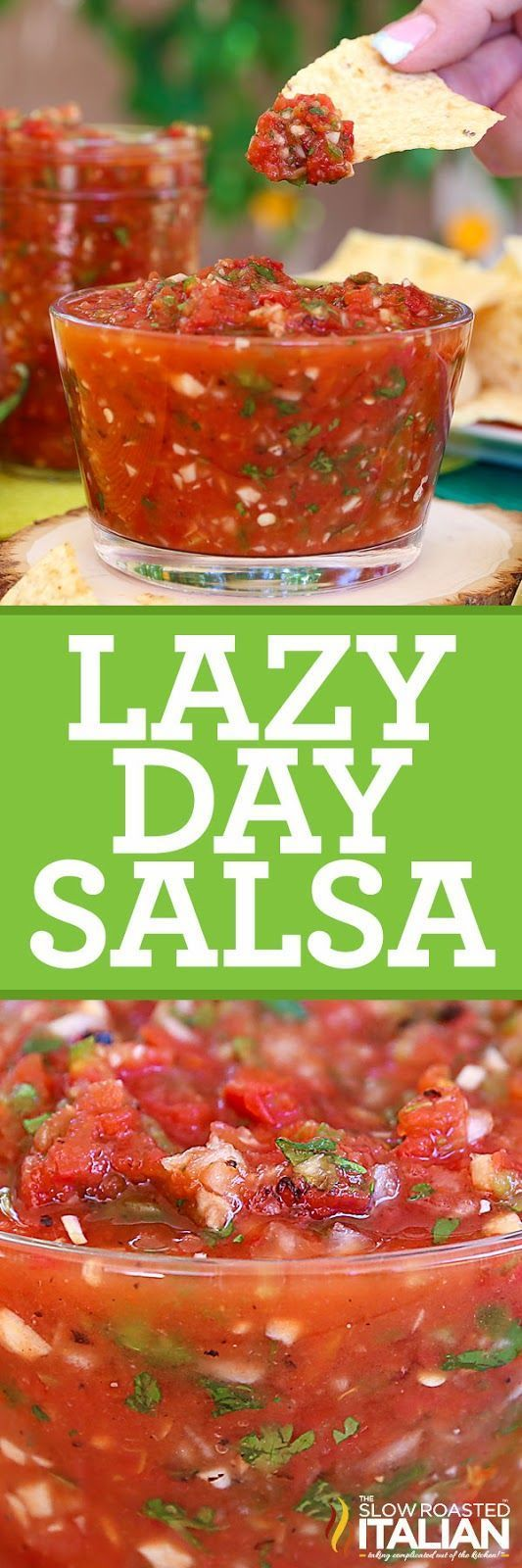This perfectly scoopable Lazy Day Salsa is a classic tomato salsa that is whipped up in a flash (no chopping required). It is speckled with bits of onion, garlic, and cilantro for an extra freshness. This salsa is so easy you can make it in 10 minutes (it takes me 5) . The best part is, you can add it to left over chicken, burgers, casseroles and viola you have the perfect left over dinner.