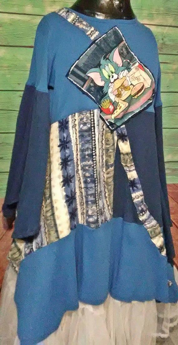 Epolstyle  knit  recycled artsy patchwork tunic Upcycled wearable art hippie large Xlg 1xl Music Festival recycled plus size