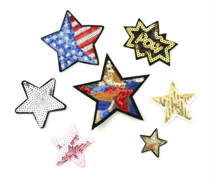 Stars Sequin Patches Iron Patch Fashion Custom Patche for Jackets Lange Embroidery Fabric Patch Decorative Stickers Stars Gold Blush Pink