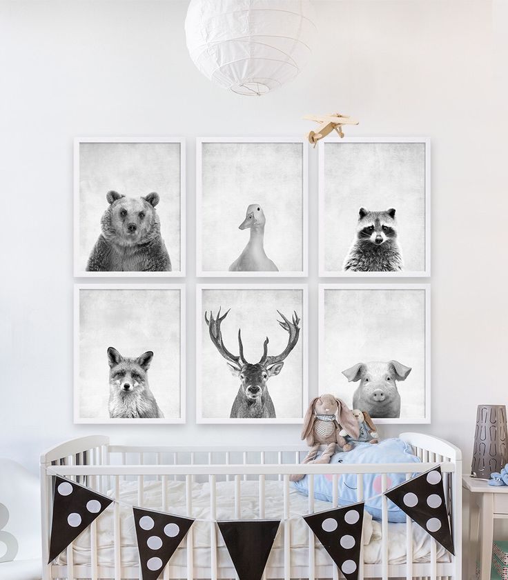 Six Animal Prints Boys Nursery Room Ideas Woodland Animals Art Grey Decor Bear Print Deer Antlers Babys By CocoAndJames