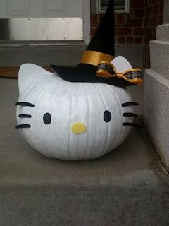 hello kitty pumpkinHoliday, Halloween Pumpkins, Kitty Pumpkin, Hellokitty, White Pumpkin, Hello Kitty, Halloween Ideas, Cat Ears, Crafts