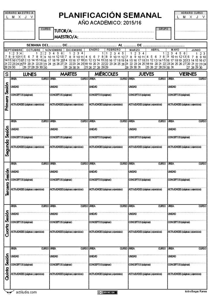 Planificación semanal y quincenal
