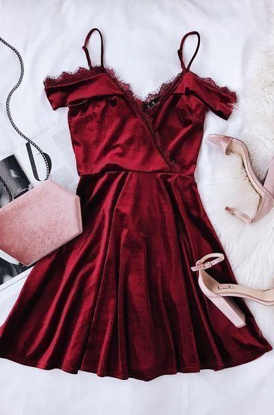 #Abendkleid #Burgund #Kleid #kurzes #Mode #Partykleid