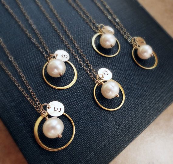 Set of 7 SEVEN Personalized Bridesmaid necklaces by OtisBWeddings, $202.00