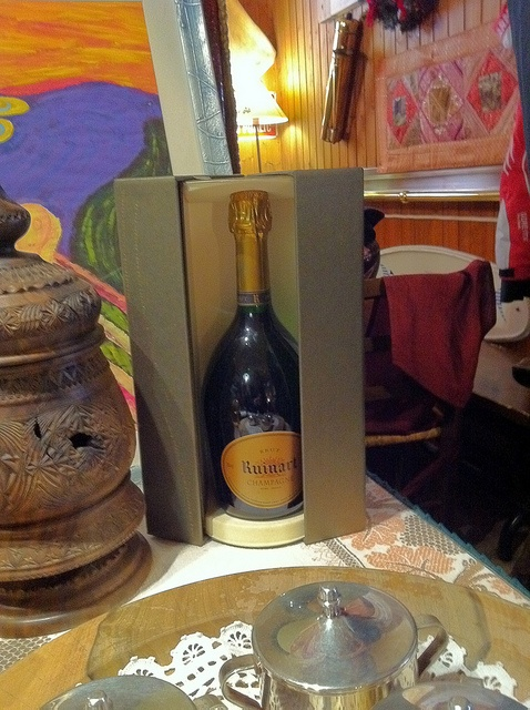 Champagne Ruinart en Italie dans un restaurant d'altitude à la station de ski « la Thuile » face au Mont Blanc