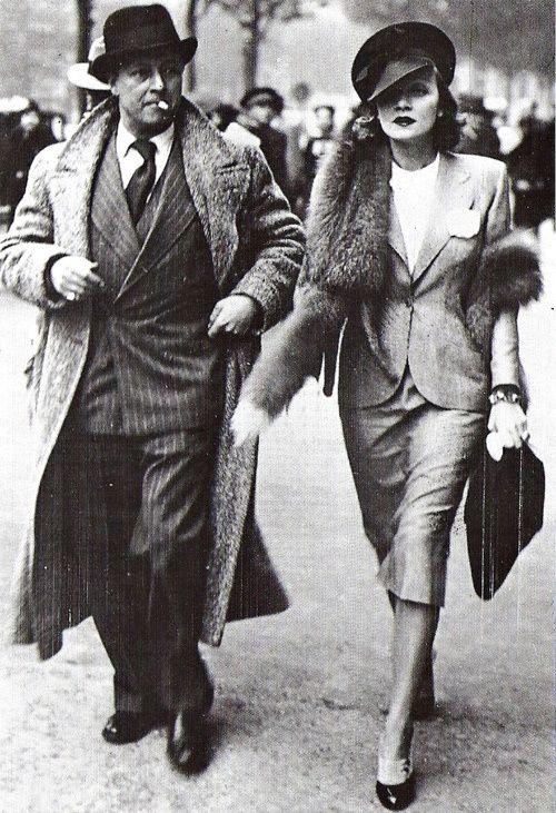 Actress Marlene Dietrich with husband Rudy Sieber in Paris - 1938.