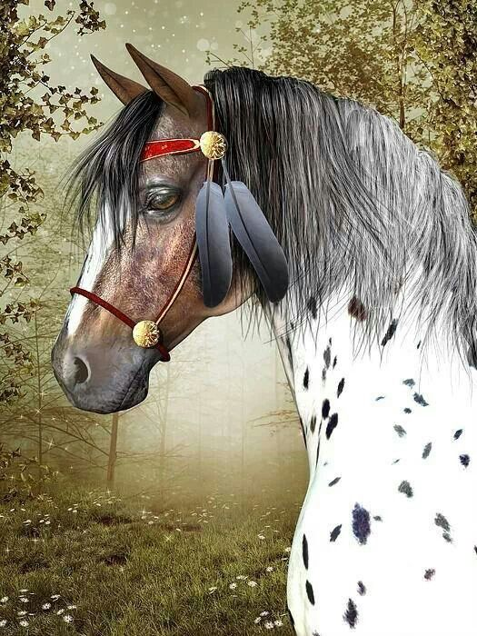 Spirit horse. Appaloosa with feathers on his halter. Pretty horse painting!. Please also visit www.JustForYouPropheticArt.com for more colorful art you might like to pin. Thanks for looking!