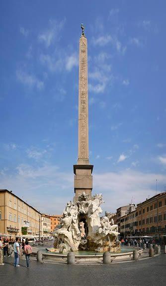 Gianlorenzo Bernini, Fontanna Czterech Rzek, 1648-51, marmur i trawertyn, Piazza Navona, Rzym