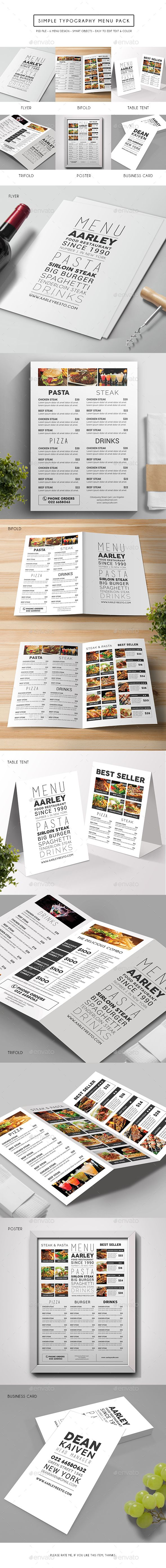 Simple Typography Menu Pack Templates PSD. Download here: http://graphicriver.net/item/simple-typography-menu-pack/15103580?ref=ksioks