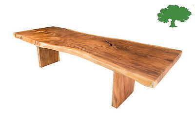 "120"" Acacia Wood Slab Dining Table Live Edge, Wood Legs Unique Rustic modern"