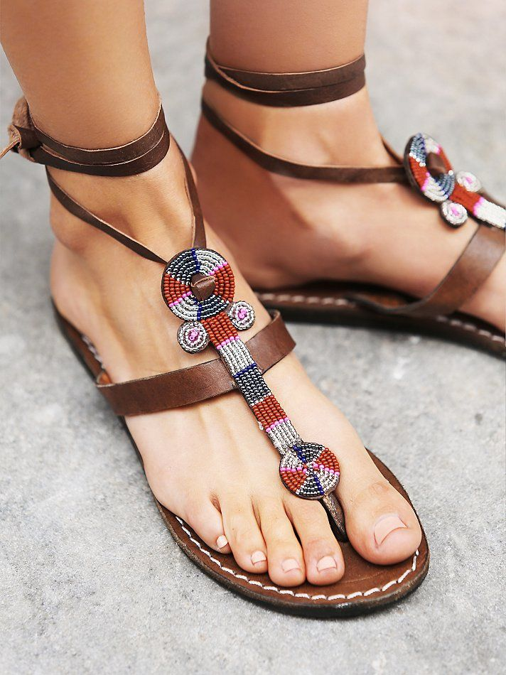 Laid Back London Henley Beaded Sandal at Free People Clothing Boutique
