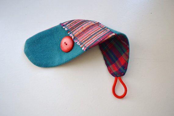 wrist cuff  tomato red and teal wool wrist cuff  by redstitchlab, €19.00