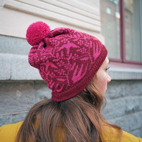 Knitted beanie in dark red & pink by Kutova Kika knitwear/ 100  % soft alpaca