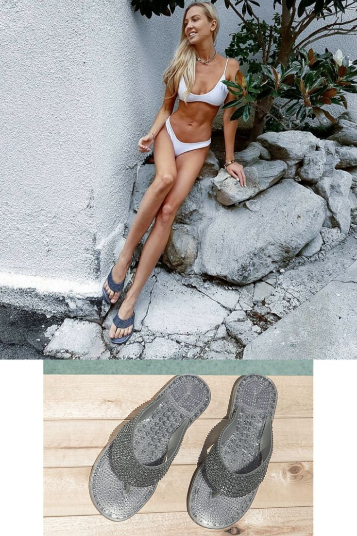 Influencer @camilla_akerberg wears our Camboriu beach-resort-cruise SANDALS in charcoal || unique massage soles || soles with breathable vents for air circulation || sweat resistant / super fast dry || SHOP yours NOW! We ship worldwide.