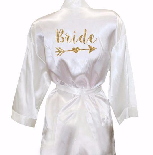Bride Robe, Whimsical bride robe, matching bridesmaid and bride robes, silk bride robe, cheap bride robe