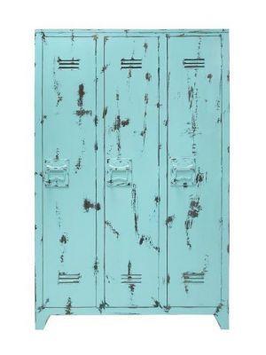 HK-living Kast turquoise rustiek hout 103x35x155cm, Locker rustiek hout