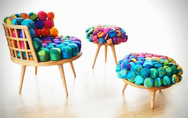 Cadeira e mesinhas com sobras de tecidos Design Innova: Setembro 2013