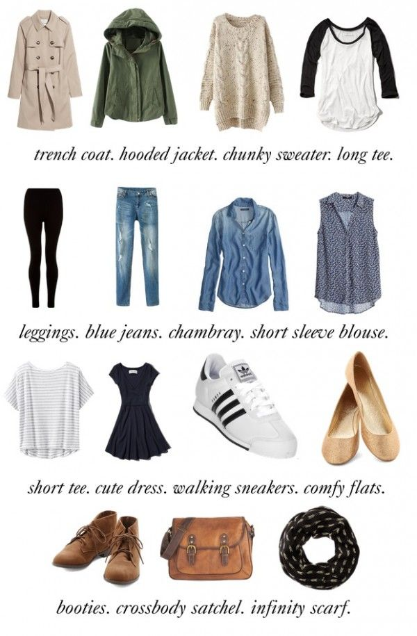 travel capsule: 15 basic clothing outfit items that can be mixed and matched.
