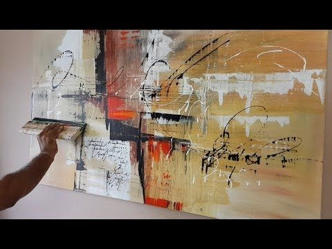 Abstract painting / Various tools and techniques / Easy / Acrylic paints / Demonstration – YouTube