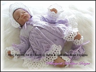 FREE Lacy Edged Matinee Set Pattern 16-22 inch doll/0-3m baby-lacy edged, matinee, baby, soll