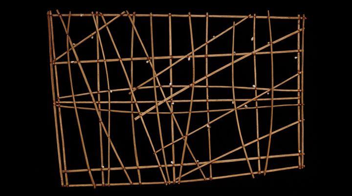 Navigation chart (rebbelib), probably 19th century C.E., wood, shell, 67.5 x 99 x 3 cm, Marshall Islands, Micronesia https://www.khanacademy.org/humanities/art-africa-oceania-americas/oceania/micronesia/a/navigation-charts