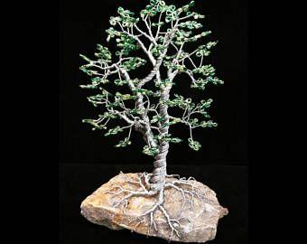 Árbol hecho a mano con cuentas Bonsai escultura de alambre - Dirno estilo