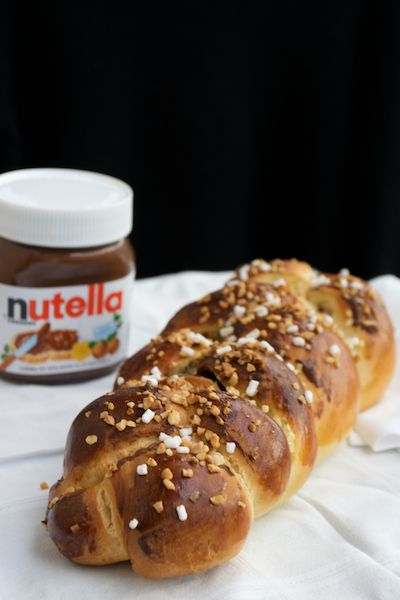 No Knead Nutella and Roasted Hazelnut Challah from Steamy Kitchen