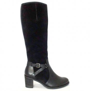 Gusto Ladies Long Boot in Black Suede & Leather
