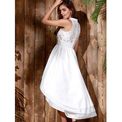 Noble branca sem mangas vestido de festa longo, em camadas Vestido assimétrico Maxi Para Mulheres