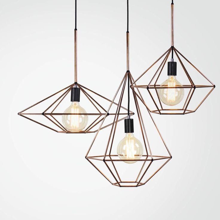 Rough Diamond Pendant is a hand made light fixture that utilises the latest  computer technology. The design combines a 3D printed joining system with  hand cut and assembled standard copper or brass tube.  Globes not included.
