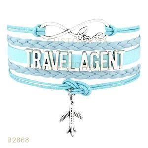 Infinity Travel Agent Charms Bracelets Various Colours 10 PCS