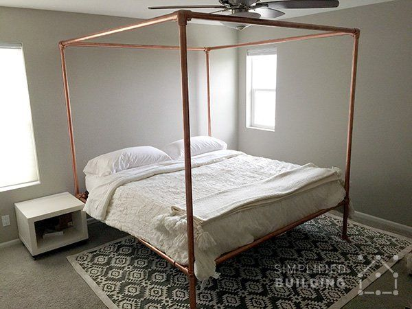 181 best beds made with pipe images on pinterest diy bed for Build your own canopy bed