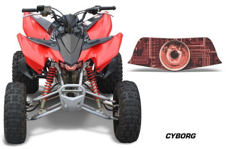 AMR Racing Head Light Eyes Honda TRX 400EX ATV Headlight Decals Part CYBORG RED
