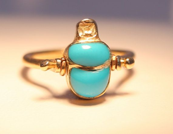 Vintage yellow 18 ct gold 5.2 gr Mystery or 2 in 1 ring by Irera