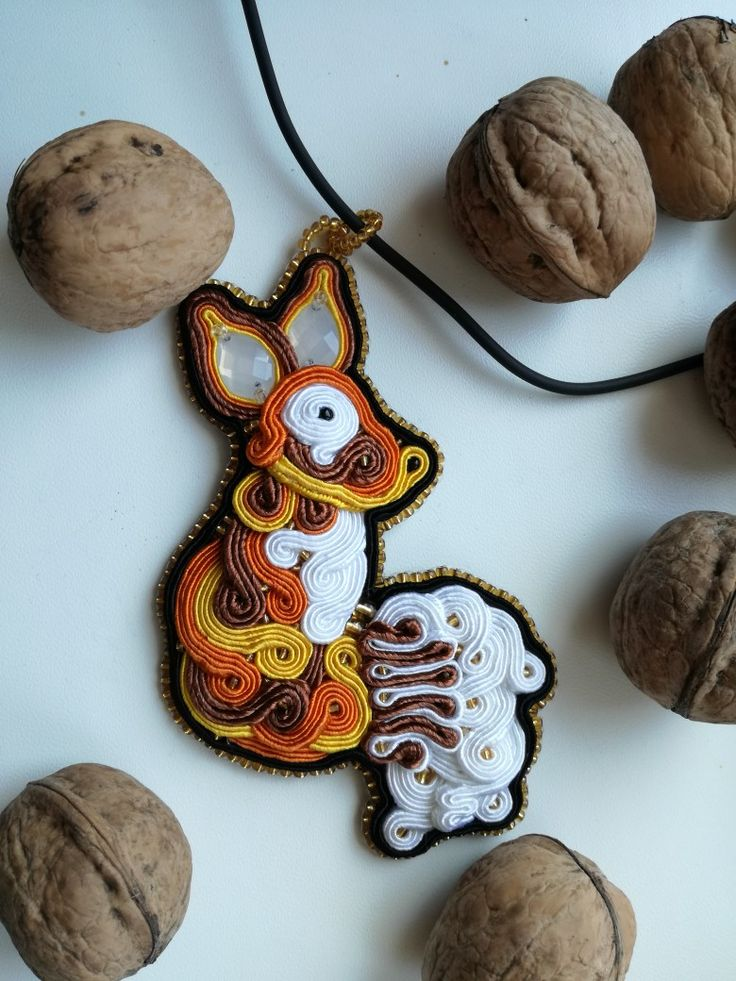 MirSi handmade jewels: Soutache fox - white, yellow, orange, black and brown soutache with gold and black beads