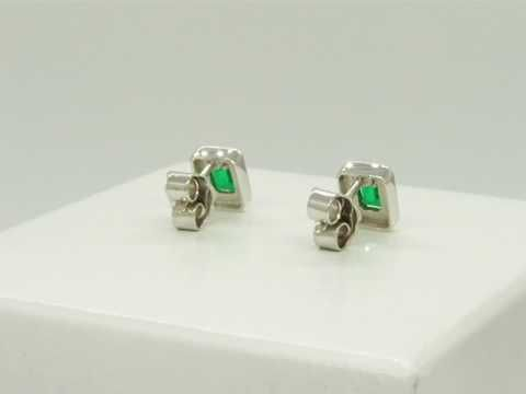 Stud Emerald and Diamond Earrings with Emerald Cut Natural Colombian Emeralds and Round Cut Diamonds E-ODS-072 by www.GreenInGold.com #earrings #emeralds #customjewelry #jewelry #diamondjewelry #diamondearrings  #weddingtrends  #weddingjewelry