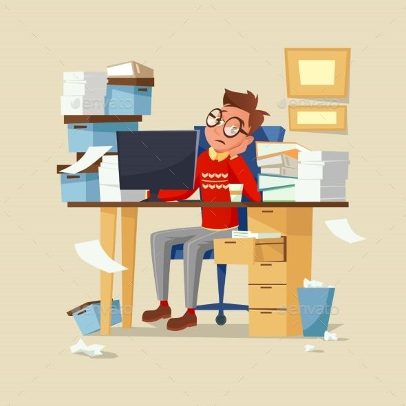 Office Manager Work Routine Vector Illustration | Vector ...