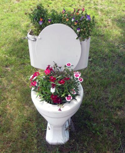 toilet flower planter - tacky with a capital T