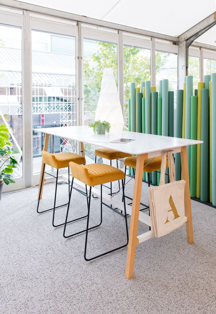 Allermuir at Designjunction 2016 Silta table with Tommo stools. With Baudot Strings behind.