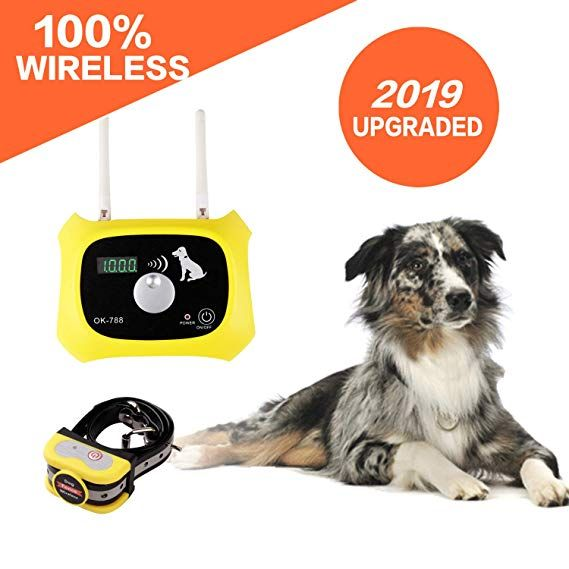 Amazon Com Wireless Dog Fence Electric Pet Containment System Safe Effective Beep Shock Design Adjustable C Wireless Dog Fence Dog Fence Waterproof Collars