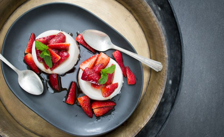 Coconut Panna Cotta with Balsamic Strawberries. Maybe stir in probiotic powder once cooled?